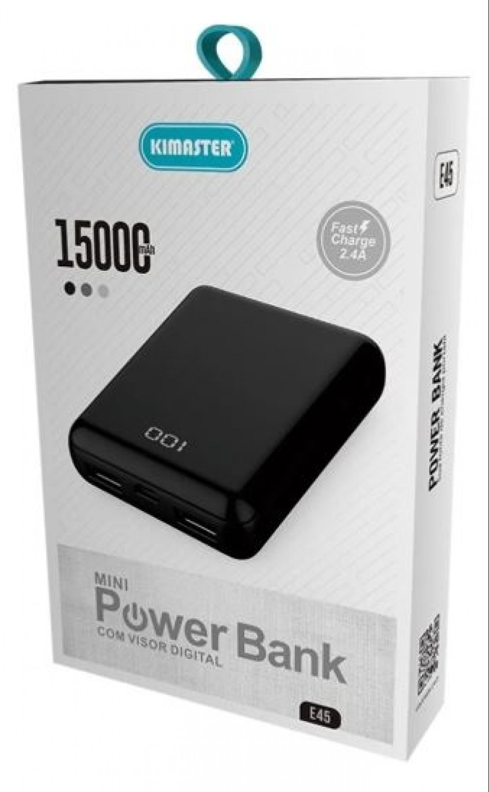 Power Bank Carregador Digital 15000mah Fast Charge Kimaster E45